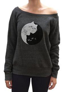 Cute Cat Sweatshirt - Yin Yang Cat Slouchy Sweatshirt - Cat Shirt