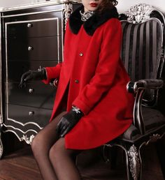 Elegant women's cape coat jackets red wool coat by Dressbeautiful, $78.69