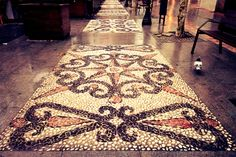 Pebble mosaic Photography - Wall Art Print - Sidewalk Photo - Street Photo - Autumn - Digital Photo - Digital Download - Autumn Wall Decor