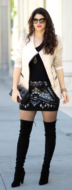 Sequin Skirt Casual Chic Urban Style