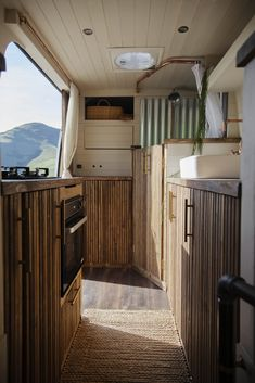 New handmade conversion from Indigo & Olive ⋆ Quirky Campers Storage Shelves, Storage Spaces, Van Living, Living Spaces, Large Shower, Upholstered Sofa, Side Door, Tiny House On Wheels, Japanese Design