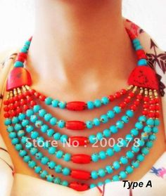 Tibetan colorful Yak bone beaded necklace,multi strands statement,ethnic fashion Bohemian necklace