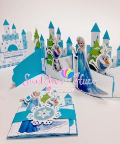Swatches & Hues : Handmade with TLC: Frozen themed bendi fold birthday invitation 1st Birthday Party Themes, Frozen Themed Birthday Party, Handmade Invitations, Birthday Invitations, Frozen Cards, Frozen Fever Party, Party Entertainment, Disney Frozen, Ideas Party