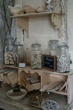 Shabby Chic: Displays: recycling glass jars to store thread & buttons; Shabby Chic Pink, Shabby French Chic, Shabby Vintage, Shabby Chic Style, Country Decor, Rustic Decor, Farmhouse Decor, Shabby Chic Kitchen, Shabby Chic Homes