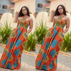 Halter Orange African Print Dress/African Clothing/African Dress For Women/Turquoise Blue Dress/Afri African Dresses For Women, African Print Dresses, African Attire, African Fashion Dresses, African Wear, African Women, Ankara Fashion, African Prints, Ghanaian Fashion