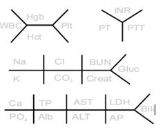 Fishbone diagram for lab values.