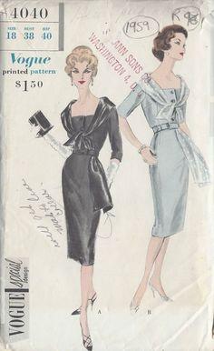 1959 Vintage VOGUE Sewing Pattern B38 DRESS (R96)