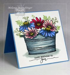 A Year of Flowers 3, Beyond Baskets and Scripty Sayings from Gina K. Designs. Stamps and card by Melanie Muenchinger.