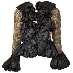 Preowned Couture Ruffled And Beaded Evening Jacket ($1,495) ❤ liked on Polyvore featuring outerwear, jackets, black, dinner jackets, pleated jacket, beaded jacket, special occasion jackets, cocktail jackets and embroidered jacket
