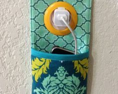 iPhone , iPod Touch, smart phone Docking Station /  wall Socket Holder / cell phone charger holder **Joel Dewberry Aviary 2 **