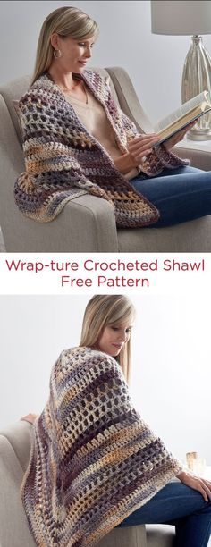 Wrap-ture Crochet Shawl Free Pattern Red Heart Evermore Yarn