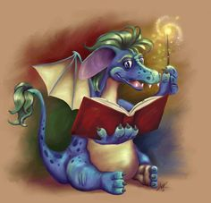 Book Dragon Hatchling Egg Baby Babies Cute Funny Humor Fantasy Myth Mythical Mystical Legend Dragons Wings Sword Sorcery Magic Art Fairy Maiden Whimsy