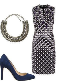 How to wear geometrics in your 40's: Embellished shift dress, Next.co.uk Navy court shoes, Russell & Bromley: 0207 629 6903 Collar necklace, Zara.com