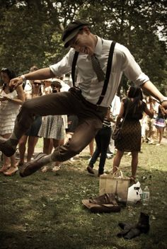 Groomsmen Idea: LOVE The brown trousers, argyle socks, suspenders, cap and polka dotted tie.