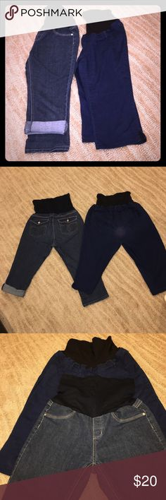 Set of 2 stretch jean maternity capris, large Set of 2 stretch jean maternity capris, dark blue, size large. Front pockets are fake, but real back pockets. Very Light wear on darker pair rear. bella vida Other