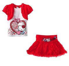 *** Superbe Ensemble été fille T-shirt + Jupe Hello Kitty *** Du 2 au 6 ans