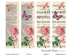 romantic-roses-bookmarks and tags Free Printable Bookmarks, Diy Bookmarks, Printable Paper, Free Printables, Corner Bookmarks, Bookmark Template, Vintage Ephemera, Vintage Cards, Marque Page