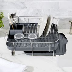 Shop Deluxe Spring Grey Dish Rack.  A coiled spring serves as the plate holder on this design-savvy rack, made exclusively for us by the bright minds at Polder Housewares.