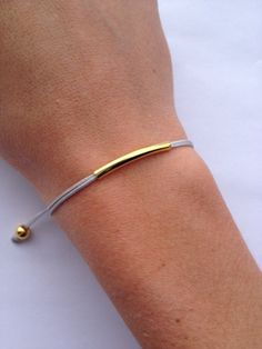 Gold/Silver Plated Tube Friendship Bracelet with by IzouBijoux