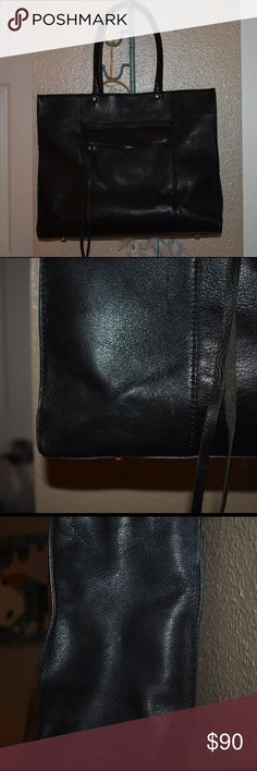 Rebecca Minkoff Large MAB See above pictures for description from website. This bag was worn to work, carried my laptop and files. Used a little for travel. A wonderful bag for a variety of uses. Not made anymore, not saffiano leather, it is a soft buttery leather. Please see pictures for wear- a couple scuffs and spots, silver hardware shows some scratches. Handles have pulled a little, as is normal with the MAB, can be fixed by a cobbler, if desired. Rebecca Minkoff Bags