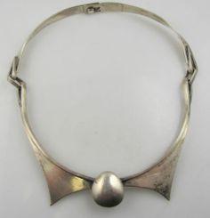 Vintage Handmade Modernist Necklace Sterling Silver Studio Piece