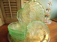 GREEN GLASSWARE Berry Bowl Set  Charming by VintageCreativeAccen