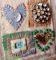 You've got to check out Alexa Lett's blog and see her take on art quilting. Love, love her use of vintage costume jewelry and other finds.