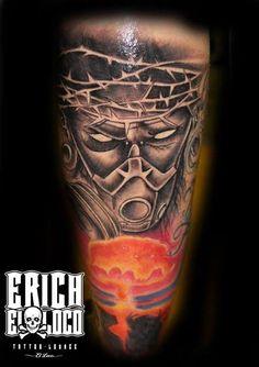 Tattoo Jesus Gasmaske Tattoo Artists, Skull, Portrait, Tattoos, Masks, Tatuajes, Headshot Photography, Tattoo, Portrait Paintings
