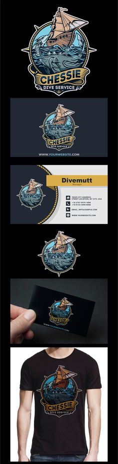 Logo and business card design by PORTERS GRAPHICS for a seafood restaurant. A sea monster is illustrated within a nautical scene. #illustration #branding #logo