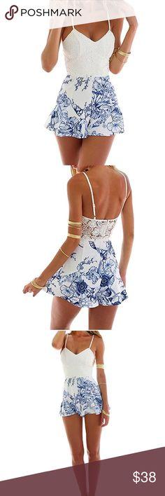 ✨✨✨Last One!!!✨✨✨ Beautiful Romper! Women Lace Crochet Rompers Floral Print Adjustable Strap Short Jumpsuit Pants Jumpsuits & Rompers