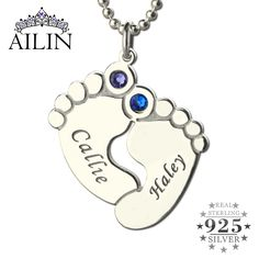 Engraved Baby Feet Necklace Personalized Birthstone Brand Names Necklace Silver Tone Love Little Baby Jewelry Christmas Gift
