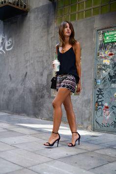 Embelished shorts - Lovely Pepa by Alexandra -        shorts: Chicwish  top: Mango sandals: Schutz  bag: Proenza Schouler PS11 Mini