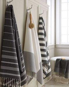 """These towels are bigger than my Bath Sheets - Black and White """"Fouta"""" Bath Towels by Scents and Feel at Horchow."""