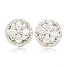 Sterling Silver Plated Bloom Cubic Zirconia Stud Earrings