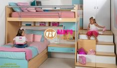 Fabulous girl's room - Home Decor ideas Bunk Bed Plans, Kids Bunk Beds, Girls Bedroom, Bedroom Decor, Trendy Bedroom, Awesome Bedrooms, Little Girl Rooms, Dream Rooms, Kids Furniture