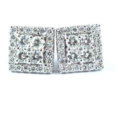 Fabulous square studs with a Hollywoodesque look in 18K white gold with 50 round diamonds total carat weight 0.89ct. Diamonds - G/H colour; VS1/2 clarity.