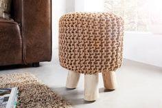 Design Sitzhocker LEEDS aus Strick coffee 45cm mit  Holzfüßen 40,00