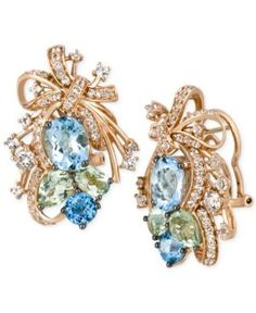 Le Vian Crazy Collection Multi-Stone Cluster Drop Earrings in 14k Rose Gold (14-1/6 ct. t.w.), Only at Macy's - Rose