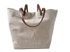 Natural Linen and Leather Tote