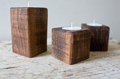 Handmade Candle Holders Set of Three Dark Walnut by whiskyginger