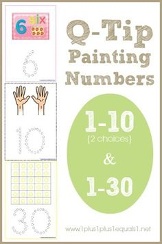 Q-Tip Painting Numbers {free}