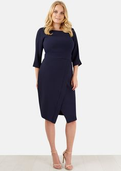 d1a20a62ebc Closet Curves Navy Long Sleeve Drape Skirt Dress