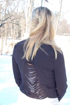 Hide Your Crazy fringe blazer (back) - $32.50 available in S, M Made of 100% Polyester. Model is wearing a M.