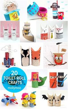 20+ toilet roll crafts for kids age 5yrs and up. Fun paper dolls, city stacking toy, mermaids, woven bracelets, superheros, cats and so much more // http://mollymoocrafts.com