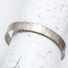 Bracelet martelé manchette en argent 925, argent trempé or jaune ou or rose