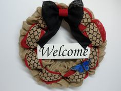 Burlap Wreath with Welcome Sign, Blue Butterfly, Front Door Wreath, Year Round Wreath, Natural and Red Burlap, Burlap Wreath for the Home by BeautifulHomeAccents on Etsy
