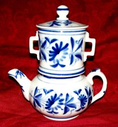 French Bayeux Flow Blue Coffee Pot. from antiquecharm on Ruby Lane
