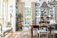 COTE DE TEXAS: Dining room by the amazing Cathy Kincaid; drapes in Lisa Fine Textiles fabric Beautiful Interiors, Beautiful Homes, House Made, Art Of Living, Architectural Elements, Estate Homes, Home And Family, Room Decor, Interior Design