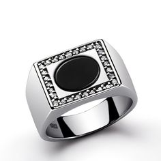 Mens Ring 925 Sterling Silver Natural Black Onyx Ring with Diamonds Sapphire…