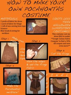 How To Make Your Own Pocahontas Costume. Guess who I am going to be next year? :3 by margery
